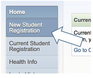 Image illustrating clicking on New Student Registration